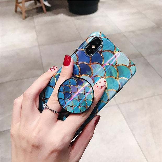 Shiny Mermaid Scales Laser Phone Case For Iphone X XR XS Max 6 6s 7 8 7plus Ring Air Bag Stand Holder Grip Case Back Cover