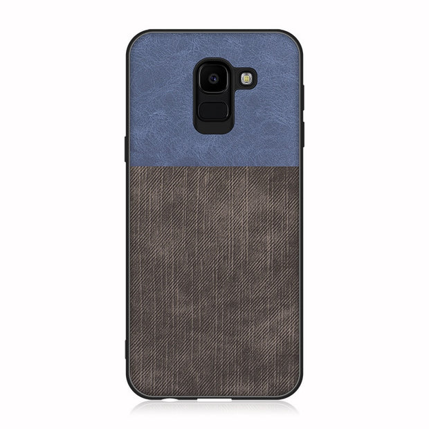 Shockproof Business Back Full Cover For Samsung J8 J6 J4 Plus 2018 J7 J5 J3 Denim Fabric Splice Soft Silicone Edge Case Estojo