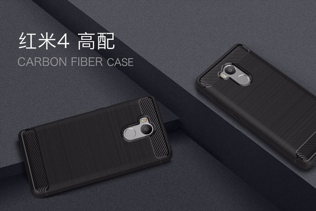Smartphone Cases For Xiaomi Redmi4 Prime,50pcs/lot,Carbon Fiber Rugged Armor TPU Protective Cover For Redmi4 Prime,free Shipping