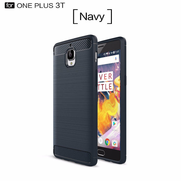Smartphone Protector Case For OnePlus 3T ,50pcs/lot,Carbon Fiber Rugged Armor TPU Back Cover Case For OnePlus 3T,free Shipping