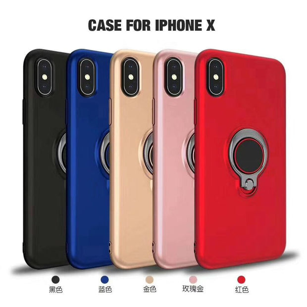 Soft Silicone Stand Holder Phone Cases For IPhone X 8 7 6 6s Plus Hide Ring Holder TPU Back Cover