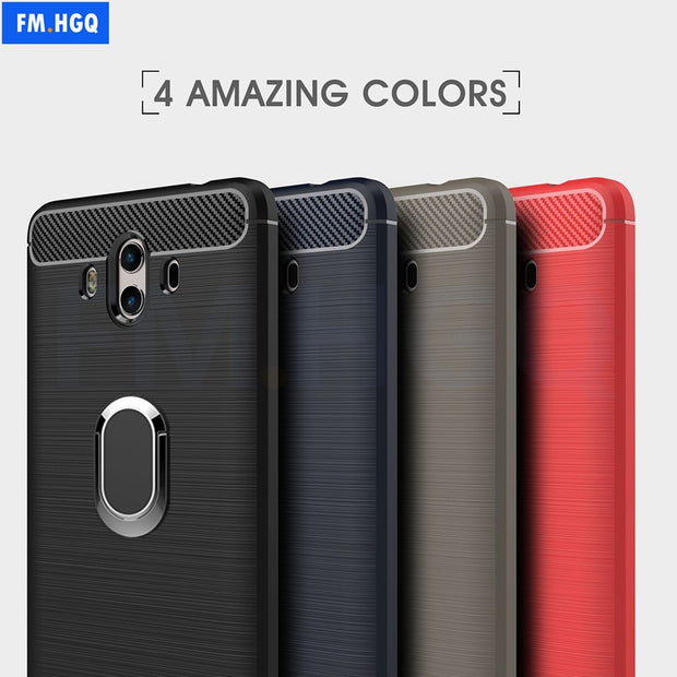 Soft TPU Carbon Fiber Cases For Huawei Mate 10 / Mate10 Pro Magnetic Car Phone Mount Ring Stand Holder For Mate10 Pro Case Cover