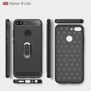 Soft TPU Carbon Fiber Cases For Huawei Honor 9 Lite Magnetic Car Phone Mount Ring Stand Holder For Honor9 Lite Case Cover Coque
