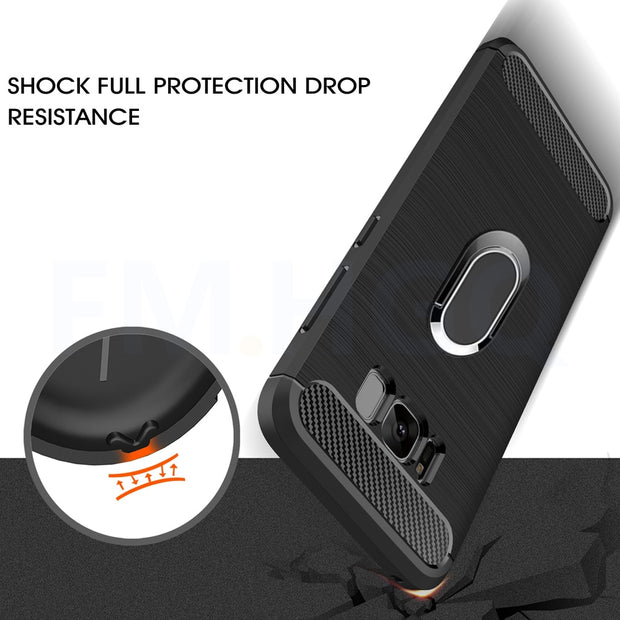 Soft TPU Carbon Fiber Cases For Samsung Galaxy S8 Plus Magnetic Car Phone Mount Ring Stand Holder For Galaxy S8 Case Cover Coque