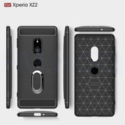 Soft TPU Carbon Fiber Cases For Sony Xperia XZ2 Magnetic Car Mount Ring Stand For Xperia XZ2 H8216 H8266 H8296 Case Cover Fundas