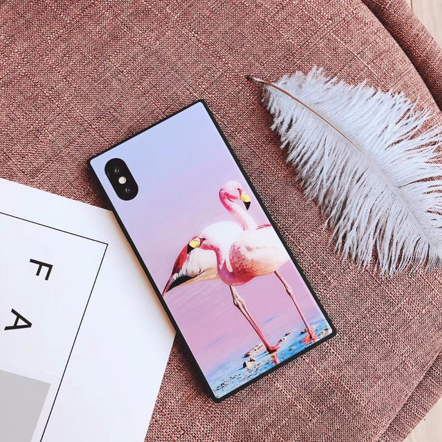Square Flamingo Sand Phone Case For Iphone 7 X 6s Case Proof Glass For IPhone 6 7plus All-inclusive For Iphone8plus Cases Square