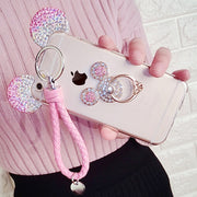 Stars Chain Mickey Ear Case For Iphone X 8 7 Plus XS Max XR Cover & Holder Lanyard Wristband Case For IPhone X 6 6Plus 6s 6splus