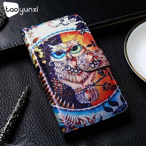 TAOYUNXI Leather Case For Samsung Galaxy A7 2018 Case Flip Wallet Painted Cases For Samsung A750 Cover Coque Flower Animal Bags