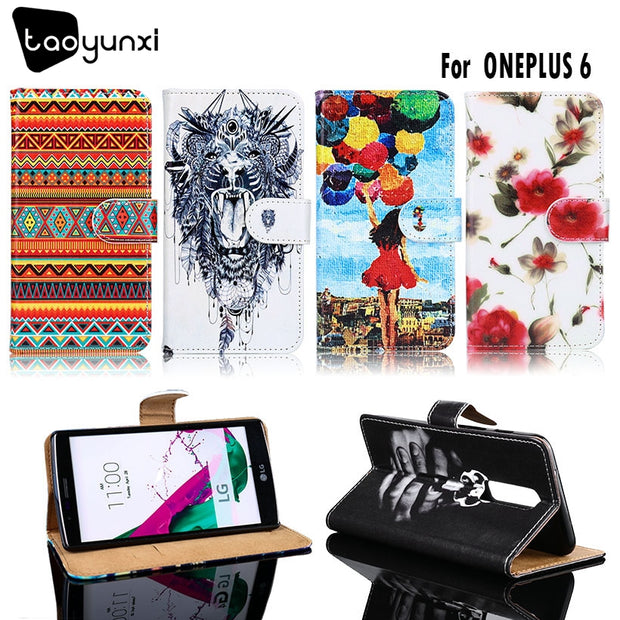 TAOYUNXI PU Leather Case For One Plus 6 Case Flip Wallet DIY Cases For One Plus 6Cover Coque Flower Animal For OnePlus6 6.28