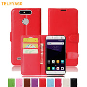 TELEYAGO ORIGIANAL CASE Classic Folio Leather Cases Cover For ZTE Blade V8 Mini / V8 Lite Wallet Case Phone Full Protector Bag