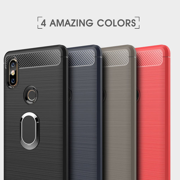 TPU Carbon Fiber Cases For Xiaomi Mi Mix 2 Magnetic Car Mount Ring Stand Holder For Xiaomi Mi Mix 2S Soft Case Mi Mix2S Coque