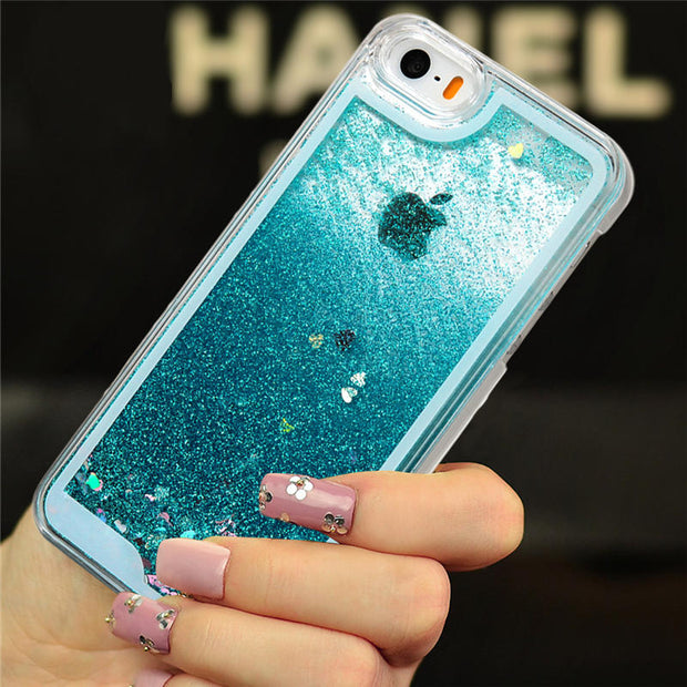 TURATA Luxury Liquid Quicksand Glitter Case For IPhone 5 5S SE Case Crystal Heart Sequin Dynamic Shell For IPhone 5 5S SE