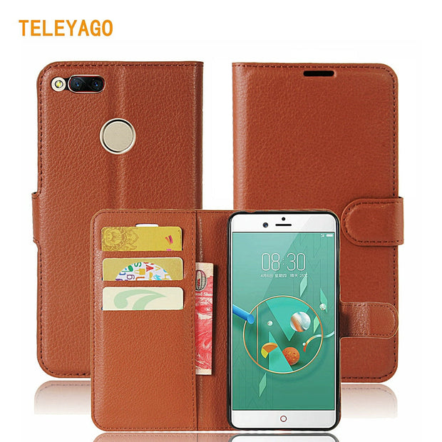 Teleyago Classic Folio Wallet Case Leather Flip Cover For ZTE Nubia Z11 Mini S MiniS / Z17 Mini Mobile Phone Stand Bag