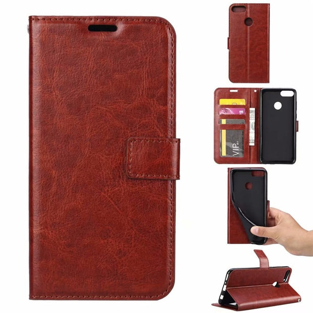 Thouport Case For Huawei Y9 2018 Bags Retro Stander Wallet Photo Frame Leather Case Phone Cover Flip Cases For Huawei Y9 2018