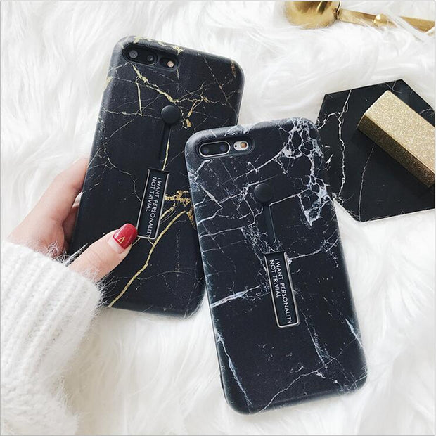 Tide Brand Marble Pattern For IPhone7plus Casec Personality Finger Band For Iphone X 7 8 6 6s Plus With Phone Holder Case