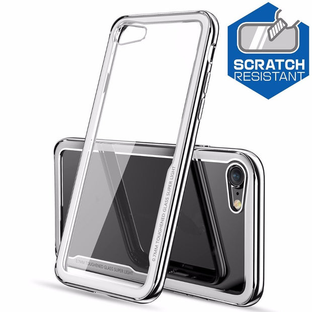 Transparent Case Ultra Hard Metal Frame Tempered Glass Back With Good Quality Cover For IPhone 6 6S 7 8 Plus X