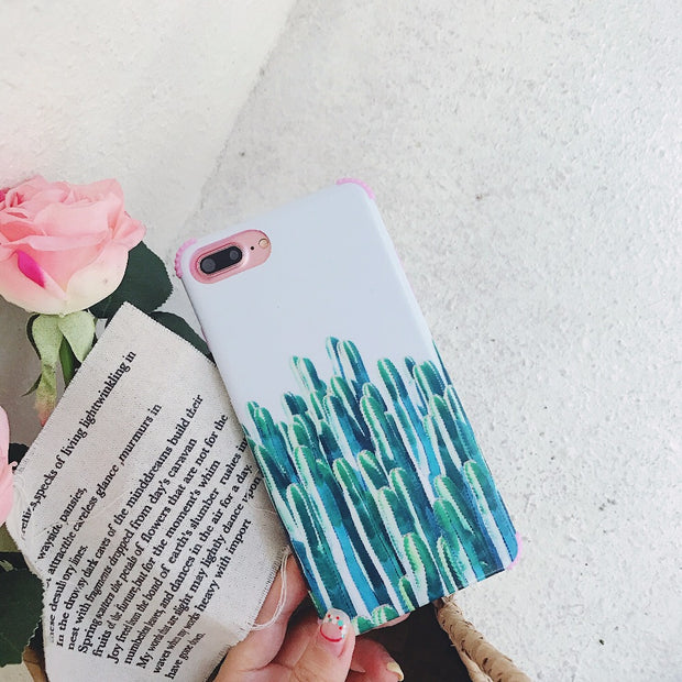 Tropical Floral Pattern Cactus Case For IPhone X 6/7/8 Plus TPU Shockproof Protective Bumper Back Cover For Girls Women