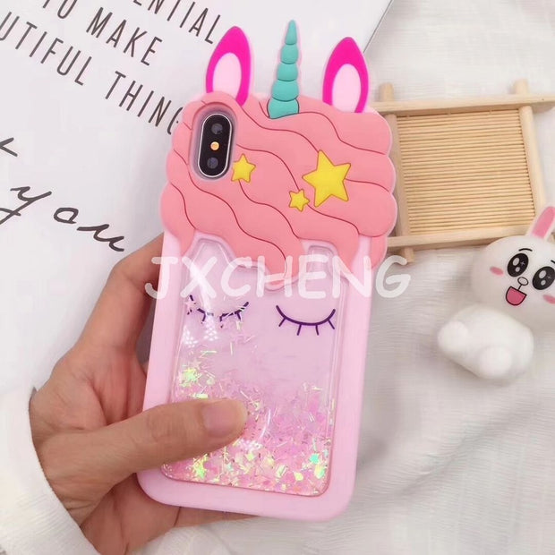 Unicorn Horse Water Liquid Case For IPhone X 5 5S SE 6 6S 7 8 Plus Cute Cartoon Duck Quicksand Cover Soft Silicone Phone Case