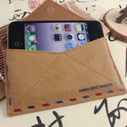 Universal Retro Mail Envelope Pouch For IPhone 6 Plus 5 5s For Galaxy S6 Edge S5/4/3 For HTC For LG Leather Handwork Phone Bag