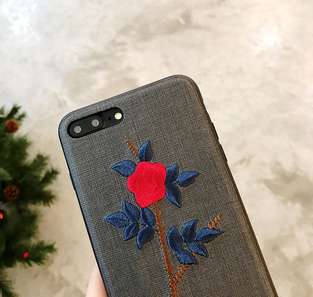 Vintage Embroidery Flowers For Apple X Phone Shell IPhone7 / 8 / 6sPlus Soft Silicone Fresh Female 7P Personalized Sets