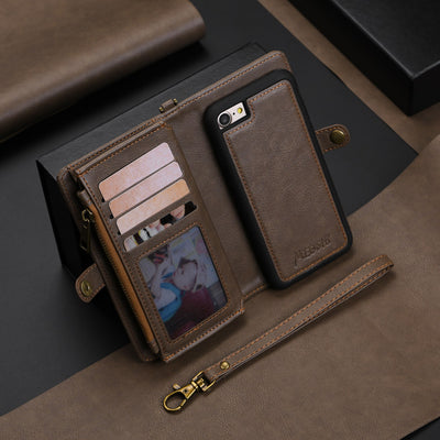 Wallet Leather Case With Zipper For IPhone X 8 7 6 6s Samsung Galaxy S8 S9 Flip Case Soft TPU Magnetic Leather Case Business