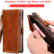 Wangcangli Genuine Leather Phone Case For LG G6 Handmade Flip Phone Case For LG Q6 G6 G7 V30 Zipper Wallet Case