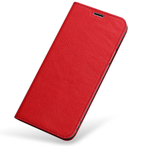 Wangcangli Ultra-thin Flip Phone Case For Huawei P20 Pro All Hand-made Lychee Texture Mobile Phone Protection Case