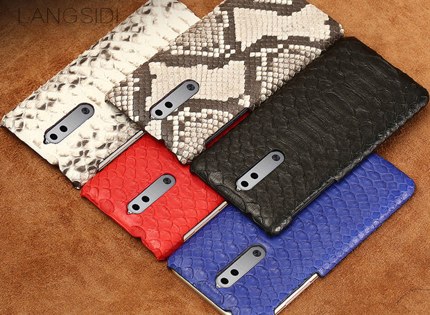 Wangcangli Mobile Phone Shell For Nokia 9 Mobile Phone Case Advanced Custom Natural Python Skin Leather Case