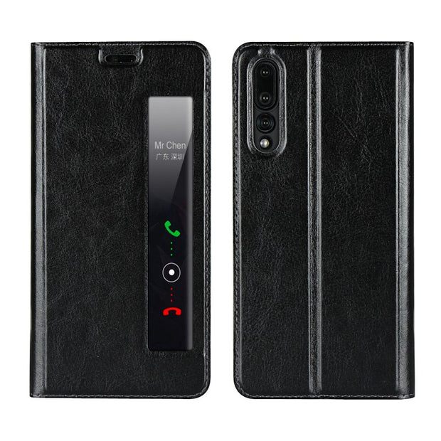 Window Case For Huawei P20 P20 Pro Flip Cover Business Magnetic Slide Answer Phone Accessory Bag Cover For Huawei P 20 Coque