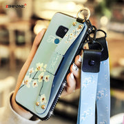 Wrist Strap Jewelled Silicone Case SFor Huawei Mate 20 Pro Case Flower Wristband Lanyard Holder Cover On Huawei Mate 20X Cases