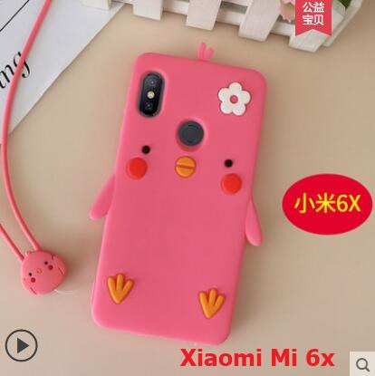 Xiaomi Mi A2 Case Silione 3D Cartoon Cute Chicken Soft Tpu With Lanyard Phone Case For Xiaomi Mi 6x Cover Case Fundas Coque