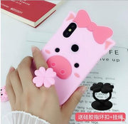 Xiaomi Mi A2 Case Silicone,3D Cartoon Lovely Pig Silicone Ring With Lanyard Phone Case For Xiaomi Mi 6x Mi A2 Cover Case Fundas