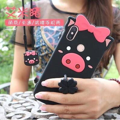 Xiaomi Mi 8 Case Silicone 3D Cartoon Lovely Pig Silicone Ring With Lanyard Phone Case For Xiaomi Mi 8 Cover Case Fundas Coque
