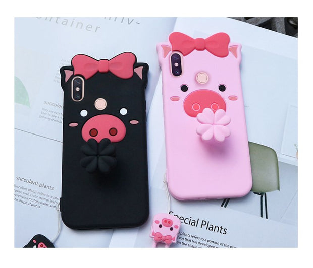 Xiaomi Redmi Note5 Pro Case Silicon,3D Cartoon Lovely Pig Silicone Ring With Lanyard Phone Case For Xiaomi Redmi Note 5 Cover