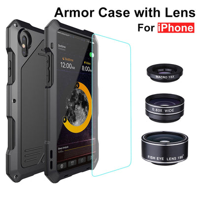 [Year-end Clearance] For IPhone X 7 8 Luxury Armor With Lens Heavy Duty Case For IPhone 5S SE 6S Plus Metal+Silicone Back Cover