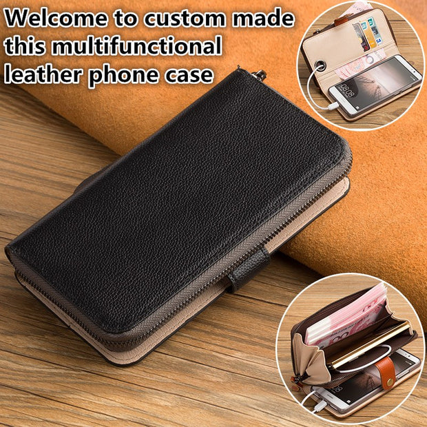 ZD14 Genuine Leahther Multifunctional Phone Bag For Motorola Moto Z Play XT1635 Flip Case For Motorola Moto Z Play Phone Case
