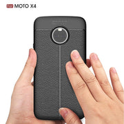 ZYSTERT For Moto X4 Silicone Litchi Pattern Leather Armor Shockproof TPU Case Capas For Motorola X4 Back Protector Cover Coque