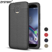 ZYSTERT Silicone Litchi Pattern Leather Armor Shockproof TPU Case Capas For Motorola G5s G5s Plus G5s Back Protect Cover Coque