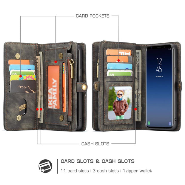 Zipper Leather Flip Wallet Magnetic Removable Back Case For Samsung Galaxy S9 / S9 Plus Cover 360 Protection Card Holder Women