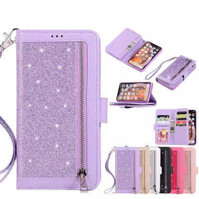 Zipper Leather Wallet Case For Huawei Mate 20 Lite P20 Pro Galaxy Note 9 8 S9 S8 ID 9 Card Sparkle Bling Glitter Pouch 30PCS