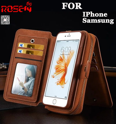 Zipper Removable Wallet Magnetic Bag Leather Case For IPhone X XS Max XR 7 6 6S Plus Samsung Galaxy S8 Plus S7 Edge Note 8 9 S9