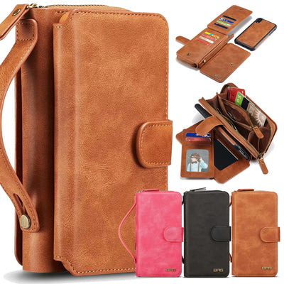 Zipper Removable Wallet Magnetic Bag Leather Case For IPhone XS Max X 8 7 6 6S Plus Samsung Galaxy S9 S8 Plus S7 S6 Edge Note 8