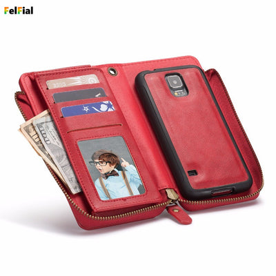 Zipper Retro Vintage Wallet Leather Case For Samsung Galaxy S5 Phone Case Wallet Cell Phone Cover For Samsung S5 Card Slot