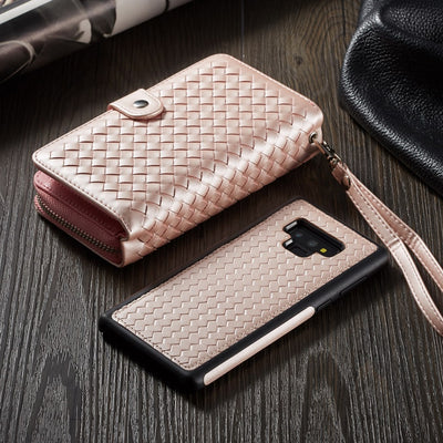 Zipper Wallet Case For Samsung Galaxy S9/S9 Plus Note 9 Detachable Folio PU Leather Pocket Wristlet Strap Card Holder Holster