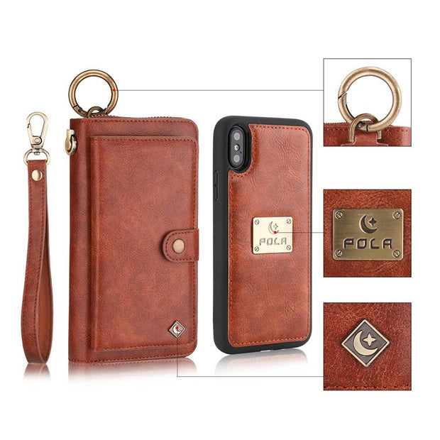 Zipper Wallet Leather Case For IPhone X XS Max XR 8 7 6 6S Plus Case For Samsung Galaxy Note 9 8 S9 S8 Plus S7 Edge Cover Bags