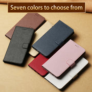 All Handmade Genuine Leather Business Case For Samsung Galaxy 8 PU Lychee Textured Clamshell Mobile Phone Protection Case