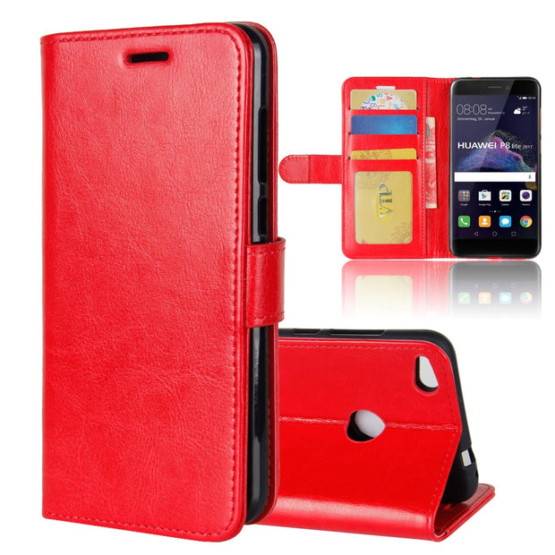 For Huawei P8 Lite 2017 Case, Luxury Vintage Flip Leather Cover Wallet Stand Case For Huawei GR3 2017 Phone Bag Magnetic Clip