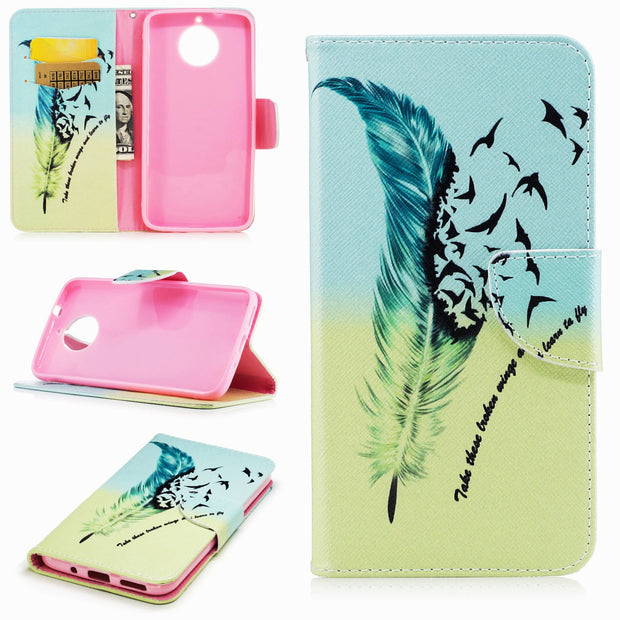 For Motorola Moto G5S Plus Case,Fashion Painted Pattern Leather Wallet Cover Magnetic For XT1803 Phone Durable Protection Shell