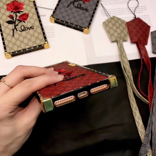 Hot Luxury Elegant Square Embroidery 3D Rose Phone Case For IPhone 6 6s 7 8 Plus X 10 Xr Xs Max Caes Soft Silicone Lanyard Cover