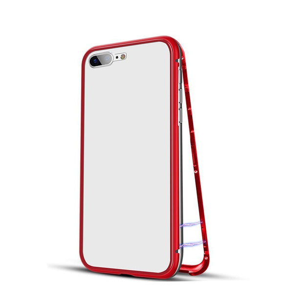 Simple And Functional Design For IPhone 7/8Plus Magnetic Adsorption Metal Case Cover + Free Tempered Glass 18#913